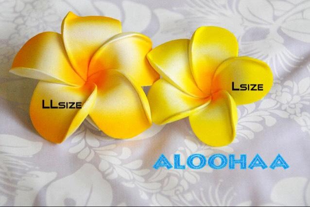プルメリア YELLOW 5pc パック Lsize 9cm 造花 ウレタン フラダンス タヒチアン 衣装 アクセサリー 材料