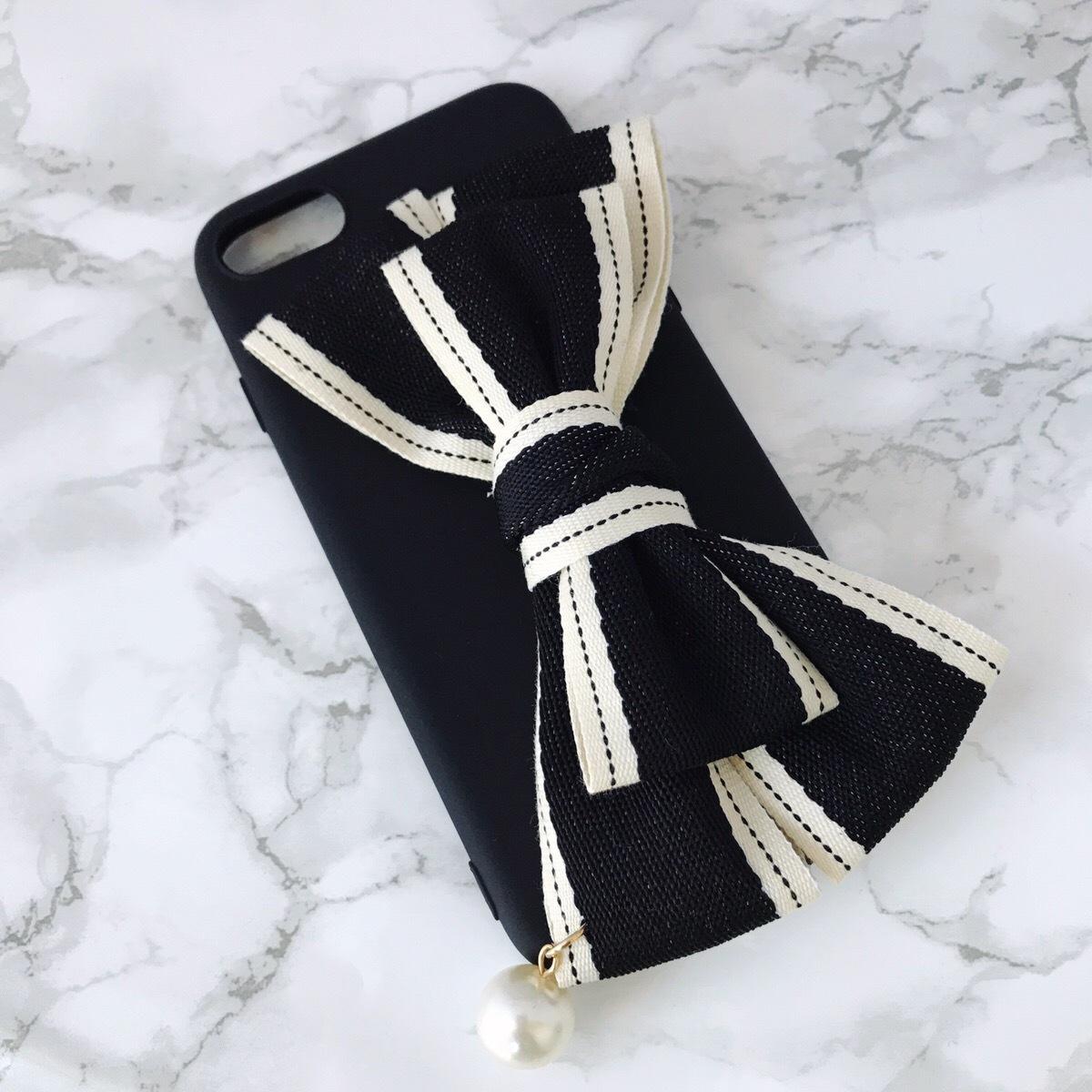 【即納、送料無料】ブラックソフトケースに大きいリボン付 iPhoneケース