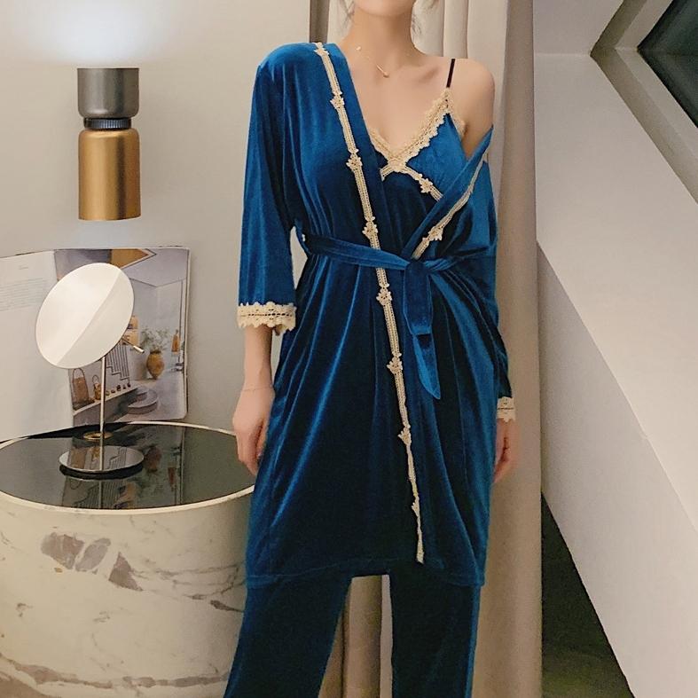【パジャマ】ファッション七分袖 カーディガン レース 無地 三点セットパジャマ33908538