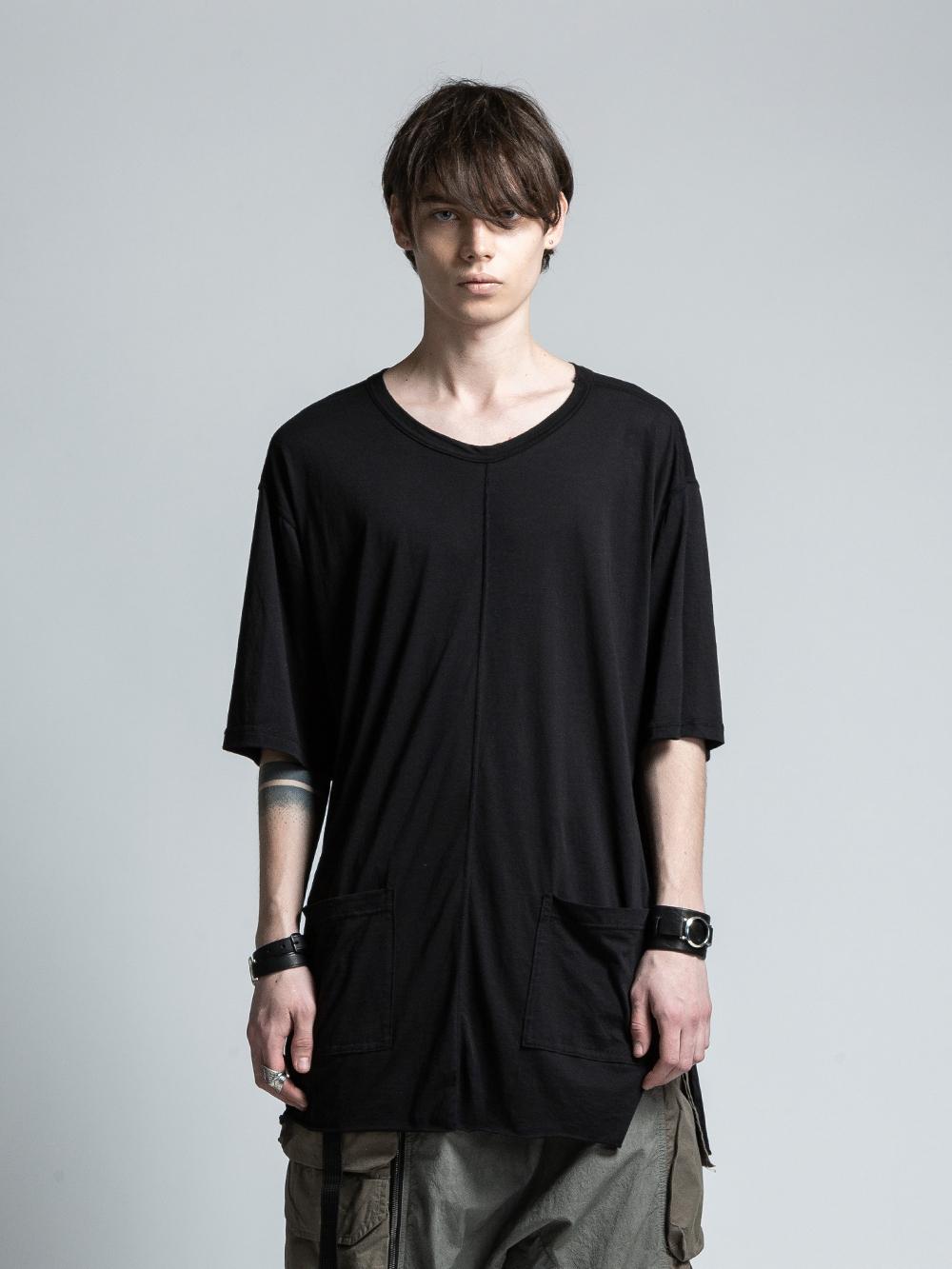 VI-3071-01 / コットンシルク 裾ポケット ロング丈五分袖カットソー