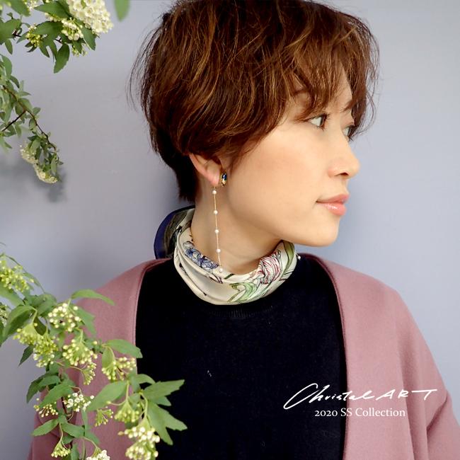 ◆即納◆春の新作 シルク100%スカーフ◆「ガーデニング(cat ivory)」柄