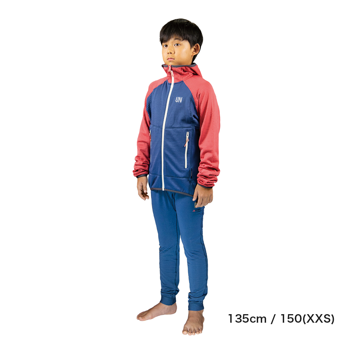 Kids 130 / UN2100 Light weight fleece hoody / Navy : Red