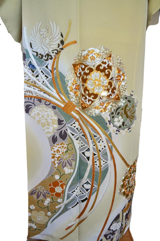 レンタル色留袖■高級加工■鮮やかな黄色地に金彩刺繍で熨斗目 花輪 irotome3【往復送料無料】 - 画像3