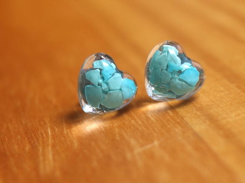 ターコイズ + レジン HeartTurq ♦︎ ハート型 原石ピアス