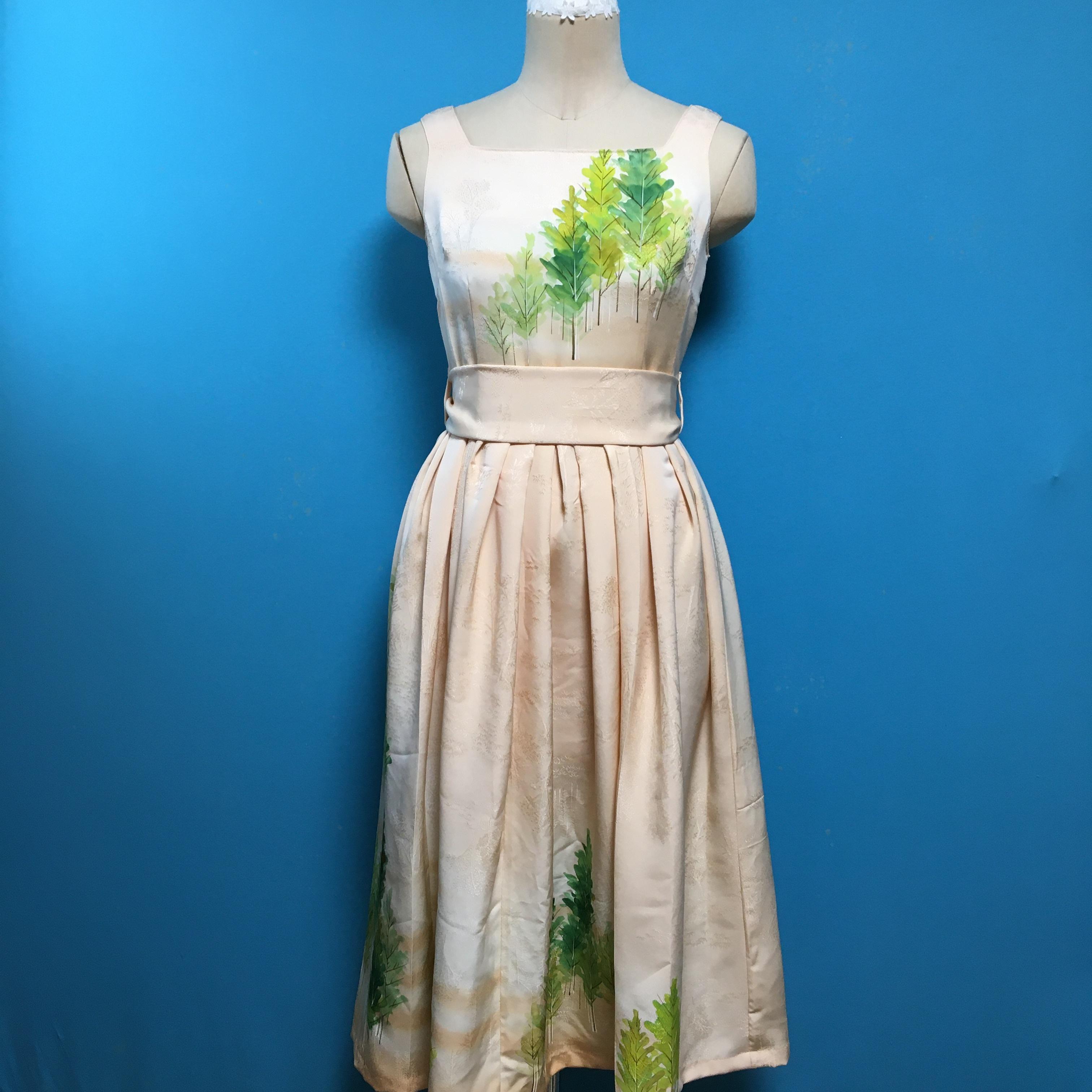 Vintage 着物のスクエアネック US 6