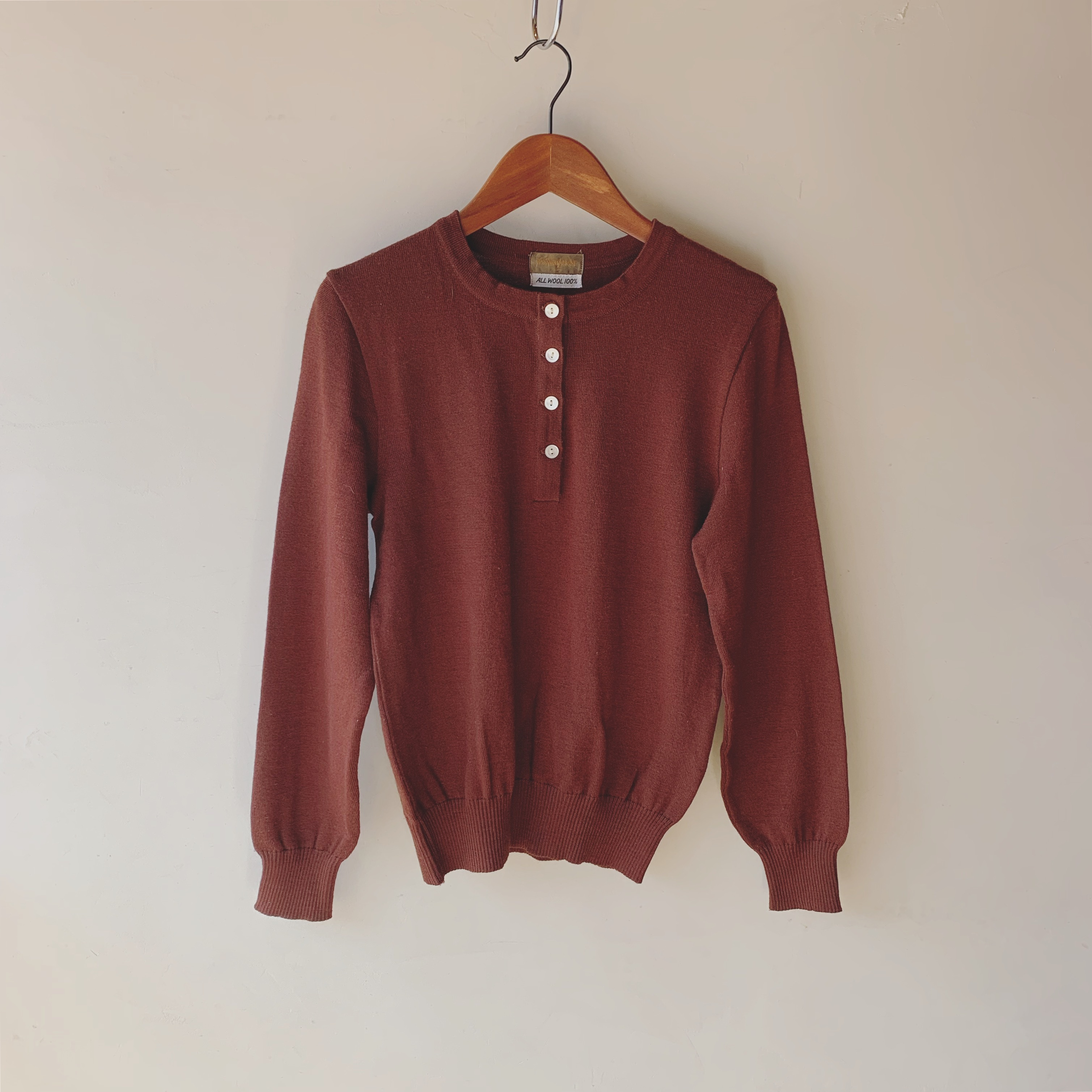 vintage YSL henry neck wool knit tops