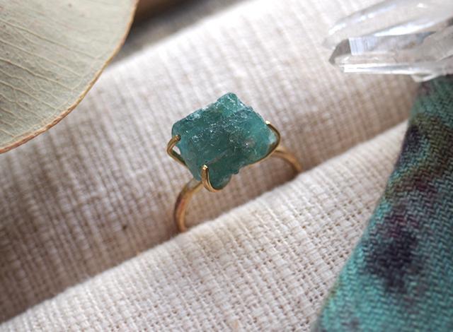 [一点物]原石のブルートルマリンのリング