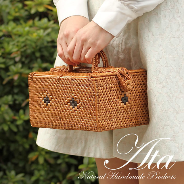 アタ製 春のお出かけにも かごバッグ S コスメボックス 裁縫道具入れ 和装バッグ  浴衣バッグ [A14]