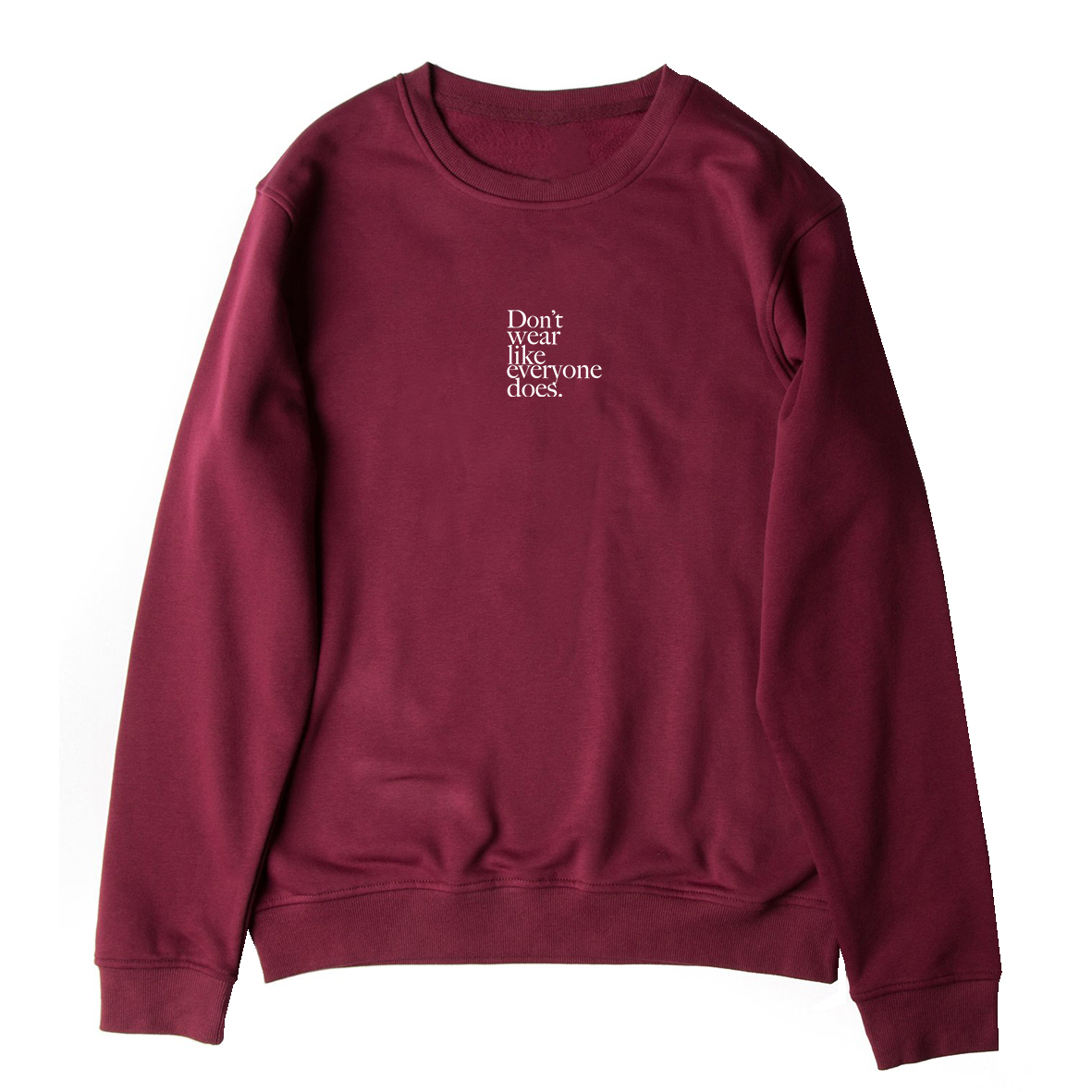 Don't wear like everyone does. Embroidery Sweat (Burgundy)
