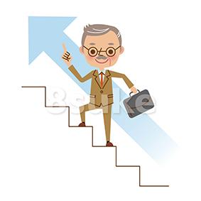 イラスト素材:階段を登る社長・熟年のビジネスマン(ベクター・JPG)