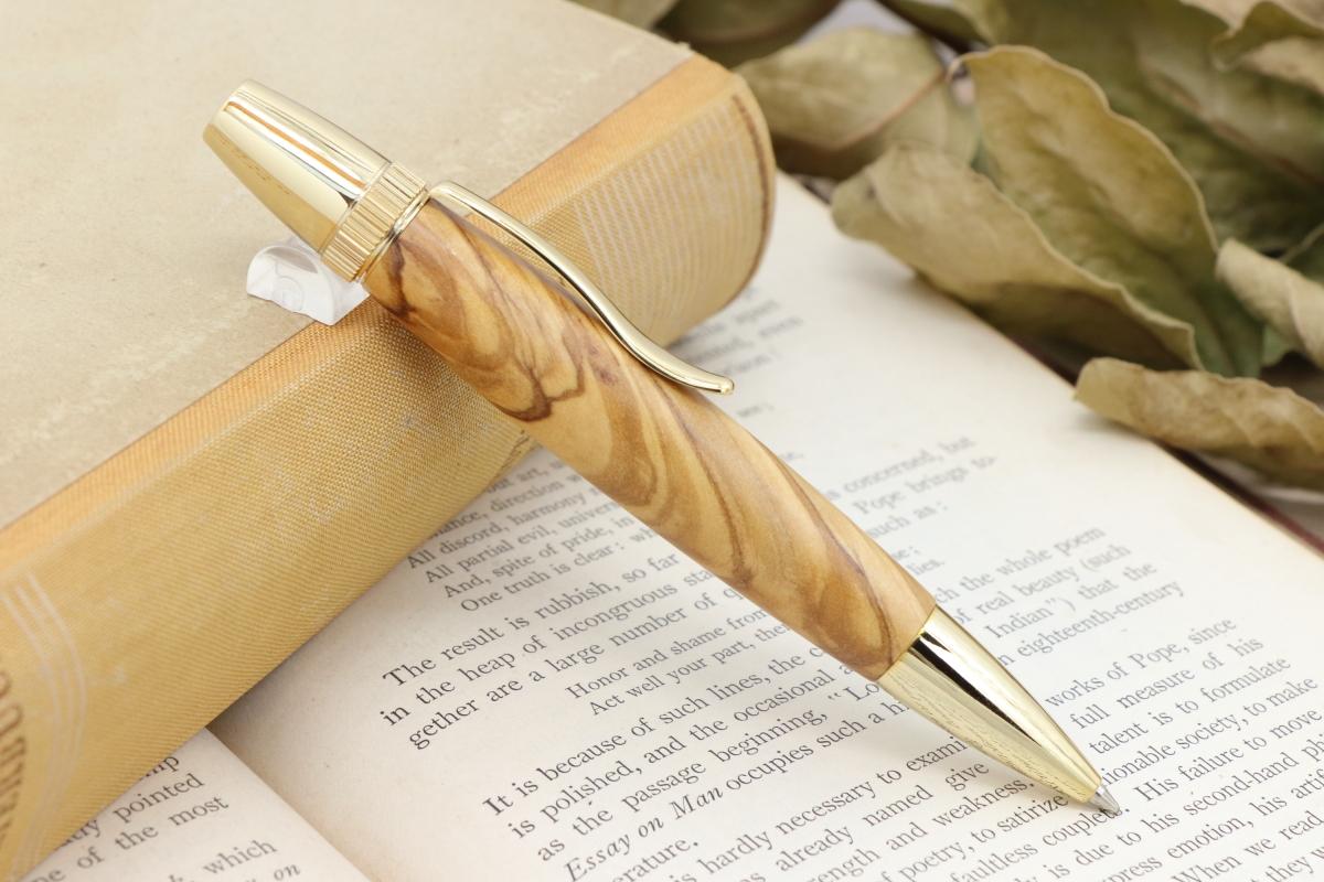 受注制作「Chouette・平和の木・ベツレヘムオリーブウッド」希少木の手作りボールペンViriditas♬ジェットストリーム芯対応