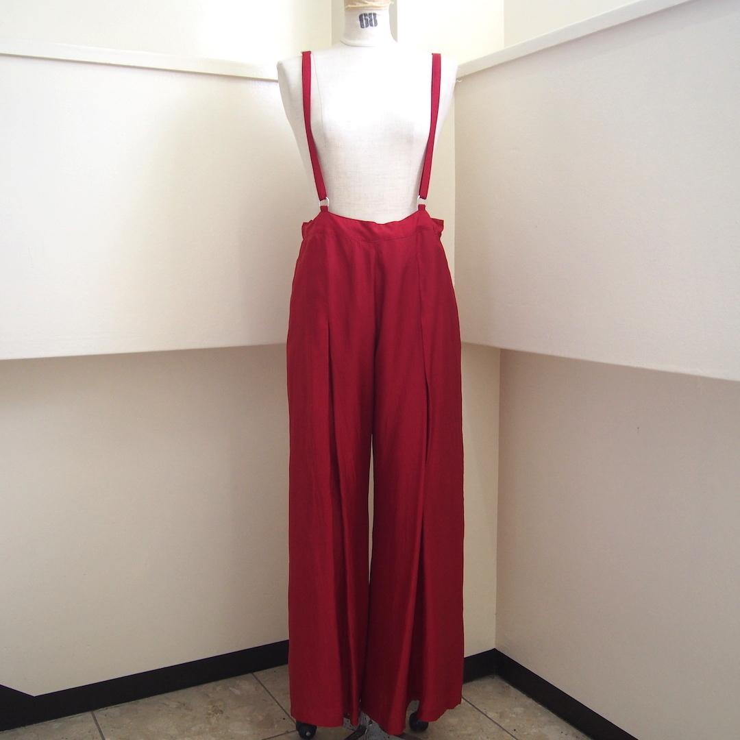 【hippiness】cupro suspender pants(Red)/ 【ヒッピネス】キュプラ サスペンダー パンツ (レッド)