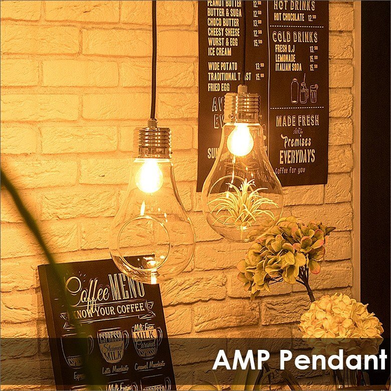 照明 AMP アンプ ペンダントライト 白熱電球 フェイクグリーン付 1灯ペンダントライト グリーン付照明