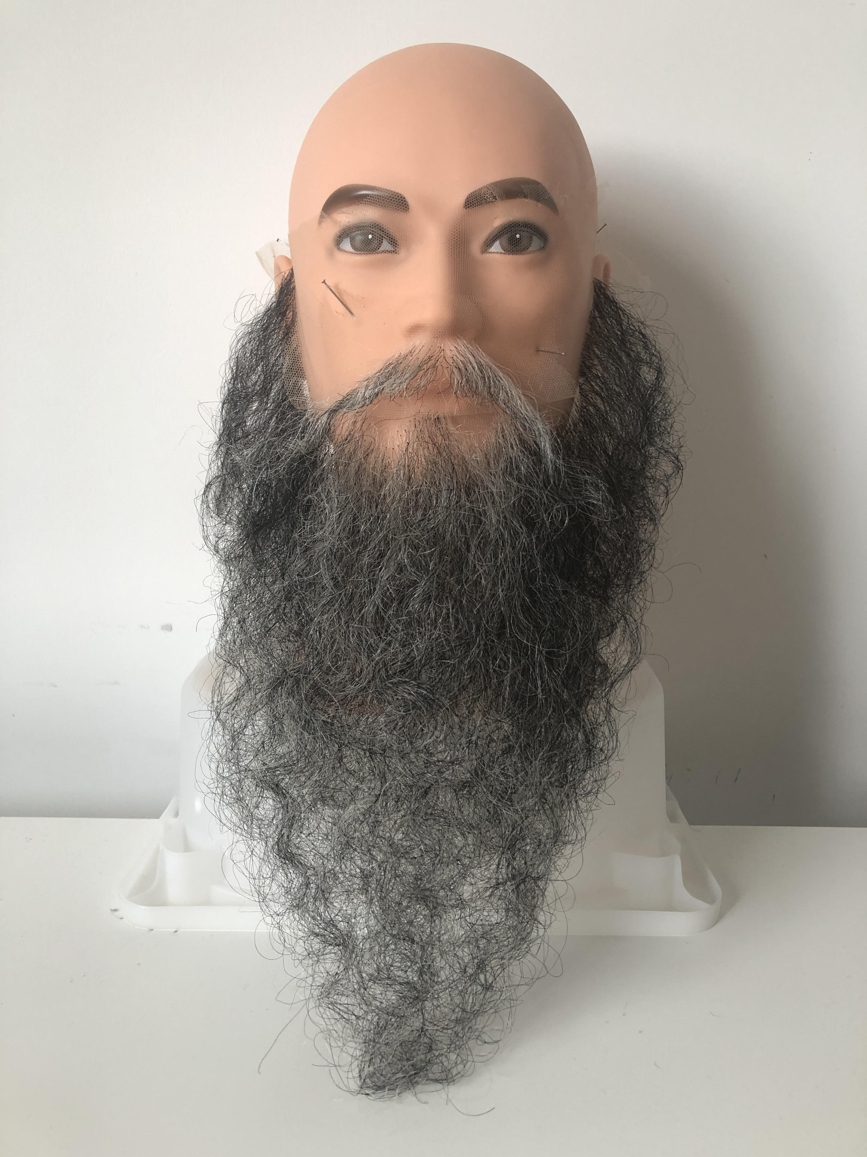 付け髭 ロング ※ご注文を受けてから製作(黒、白、グレイ)
