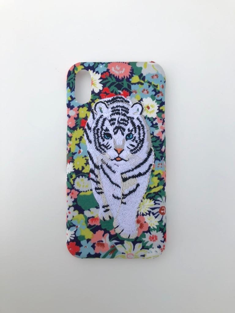 【iPhoneX専用】刺繍iPhoneケース ホワイトタイガーRED レッド