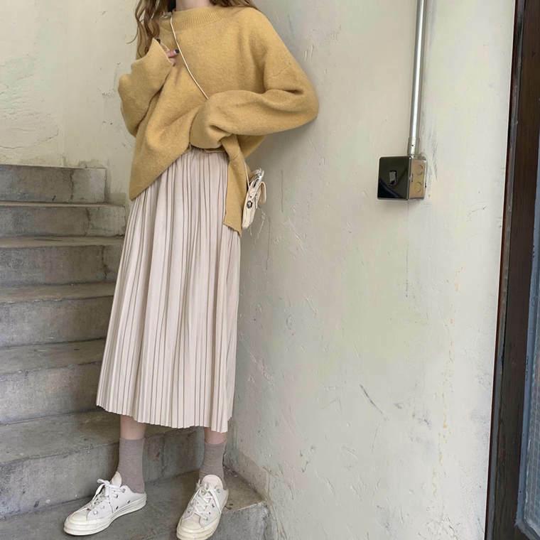 【送料無料】 女っぽスカート♡ ロング丈 プリーツスカート バックスリット入り きれいめ カジュアル