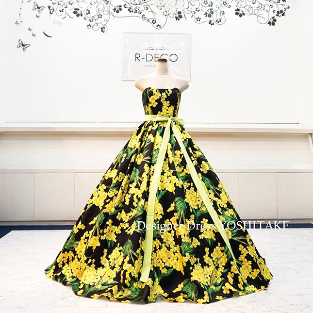 【オーダー制作】ウエディングドレス イエロー・グリーン花柄ドレス 披露宴/お色直し ※制作期間3週間から6週間