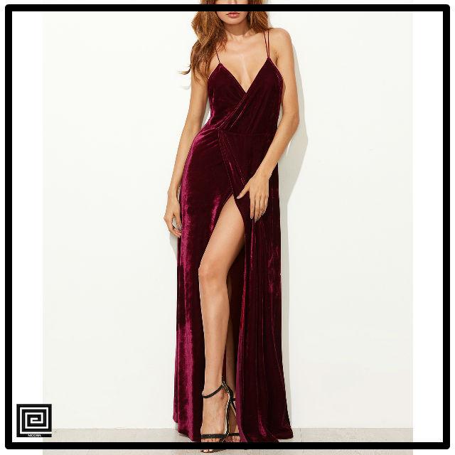 ストラップバックレスベルベットラップドレス