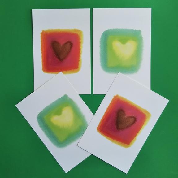 ハートのポストカード4枚セットB(同柄2枚×2)☆送料無料