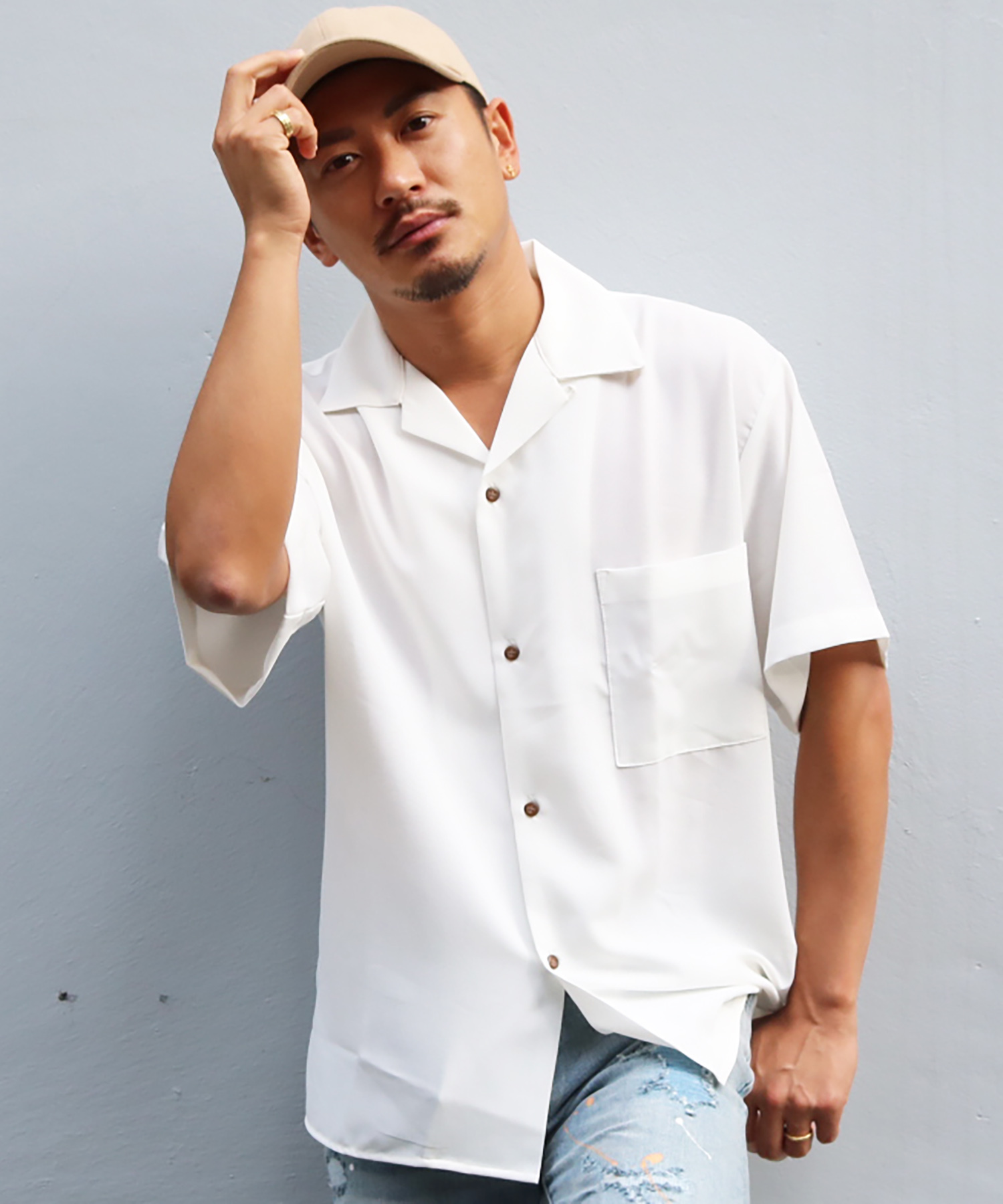 OPEN COLLAR SUMMER COLOR SHIRTS[RES023]