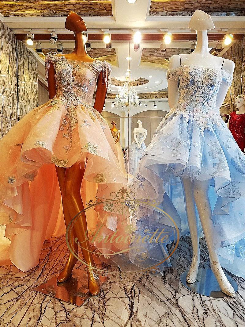 7f0d5aec6c6cb 海外ドレス 刺繍 オートクチュール キャバ ドレス ホステス イベント ハーフドレス ベア チュール チュールドレス ブルー