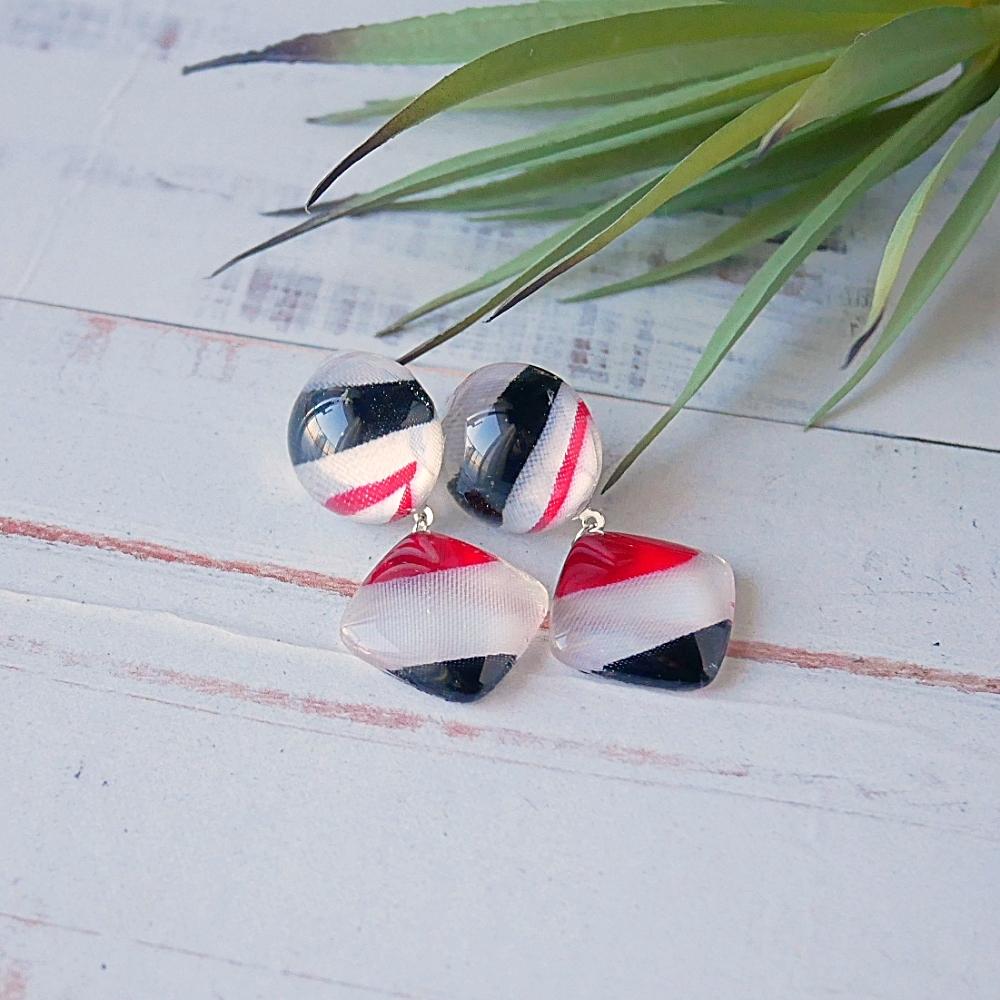 """"""" Earrings NO.0-1964″トリコロールカラーのスカーフガラス"""