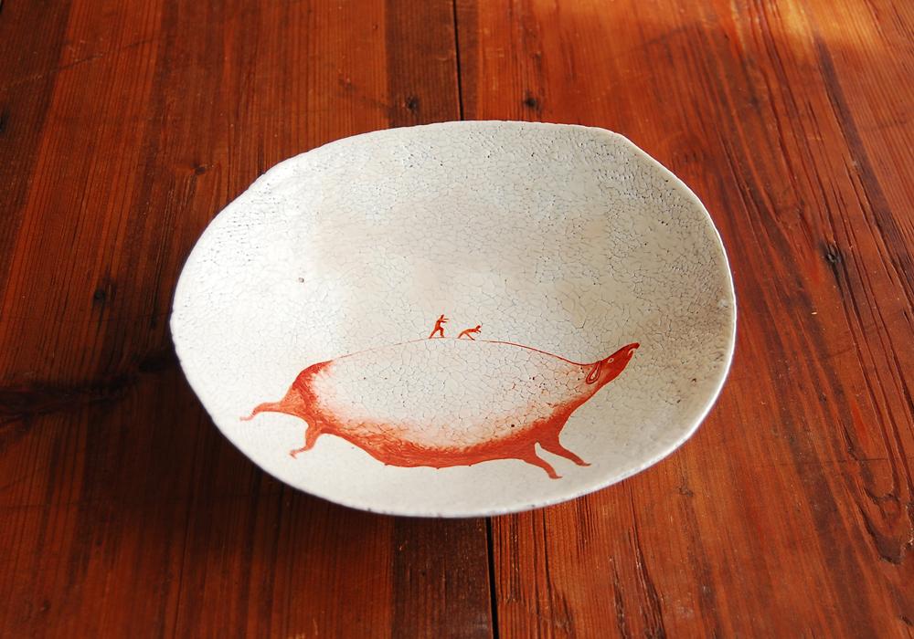 亥・赤絵粉引貫入鉢 Iron Red Overglazed Slip Bowl