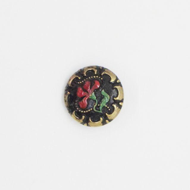 チェコガラスボタン2.25cm::: 可憐な1輪の花 赤
