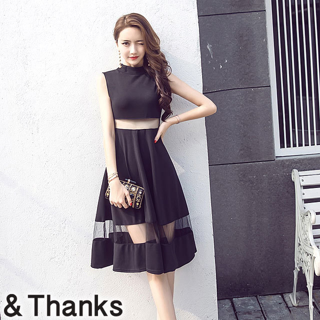 ドレス特集 ガーゼスプライシングドレス 1カラー 4サイズ