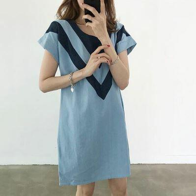 ワンピースドレス 半袖ドレス Vネックライン シンプル ラウンドネック カラーデザイン カジュアル デイリーユース ライトブルー/ネイビーブルー