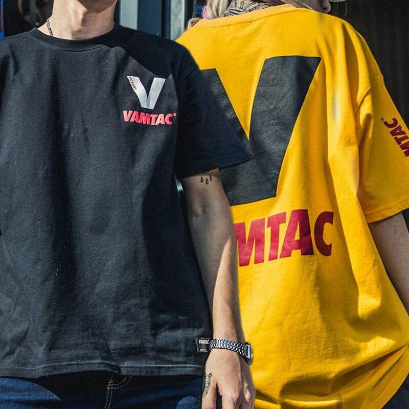 ユニセックス Tシャツ 半袖 メンズ レディース ラウンドネック 英字 V プリント オーバーサイズ 大きいサイズ ルーズ ストリート
