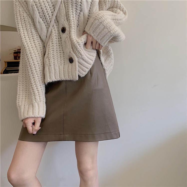 【送料無料】 おしゃれ度上がる♡ レザー PU ミニスカート シンプル ハイウエスト Aライン