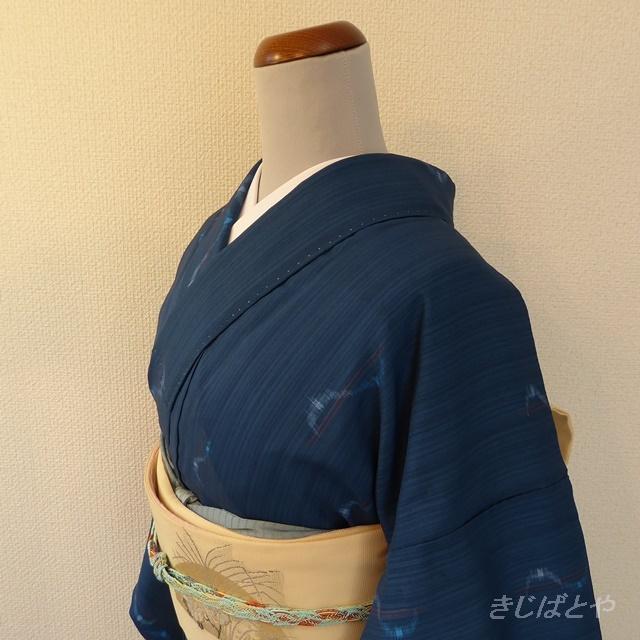 洗える着物 藍色の小紋 単衣