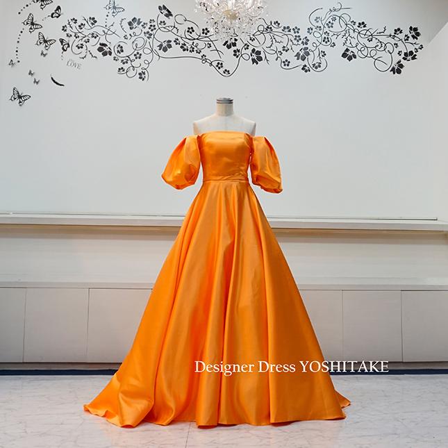 【オーダー制作】ウエディングドレス(無料パニエ)  オレンジサテンのバルーンな袖付きウエディングドレス Aライン 二次会/披露宴 ※制作期間3週間から6週間