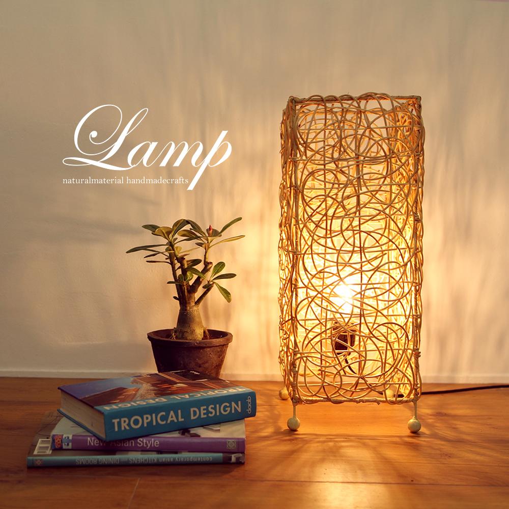 ■当日出荷■インテリア照明 神秘的な空間を作るラタンランプ [角柱ショートナチュラル] L04 (ランプ、間接照明、籐)