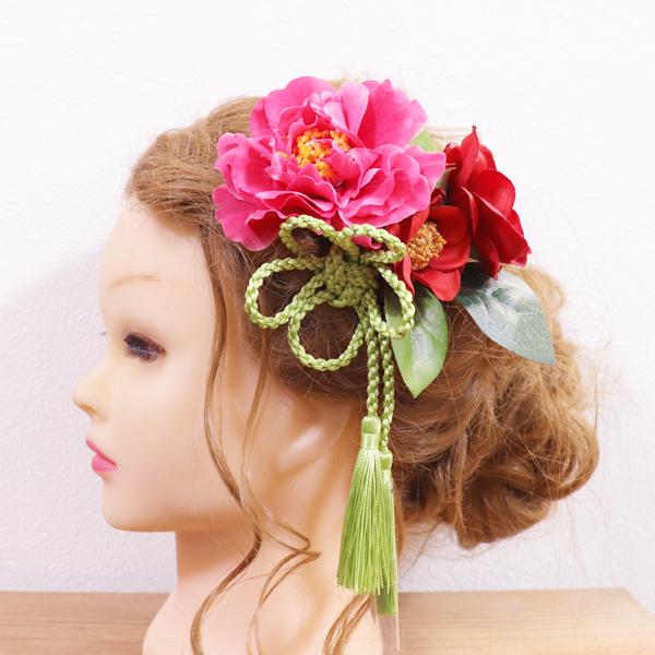 【アーティフィシャル】成人式や結婚式和装の髪飾りに。椿のヘッドドレス