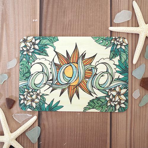 ウッドポストカード(Aloha)