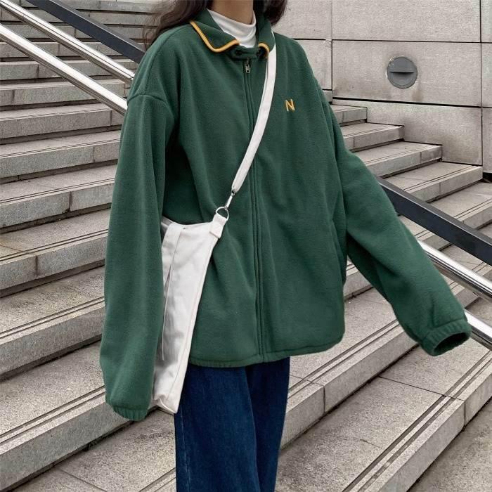 【送料無料】 シンプルロゴがおしゃれ♡ ジップ 襟付き パーカー 羽織り カーディガン カジュアル ジャケット