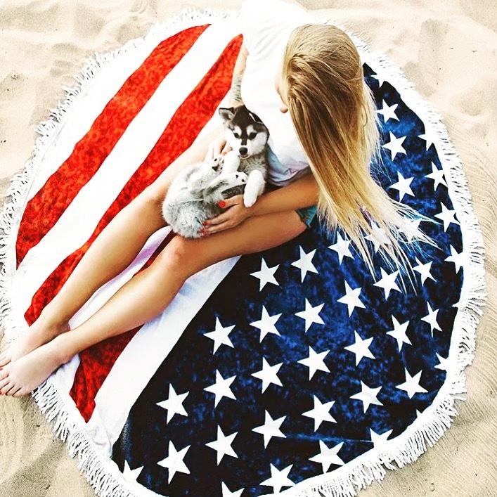 【送料無料☆即納】アメリカンラウンドマット/星条旗/Y4471