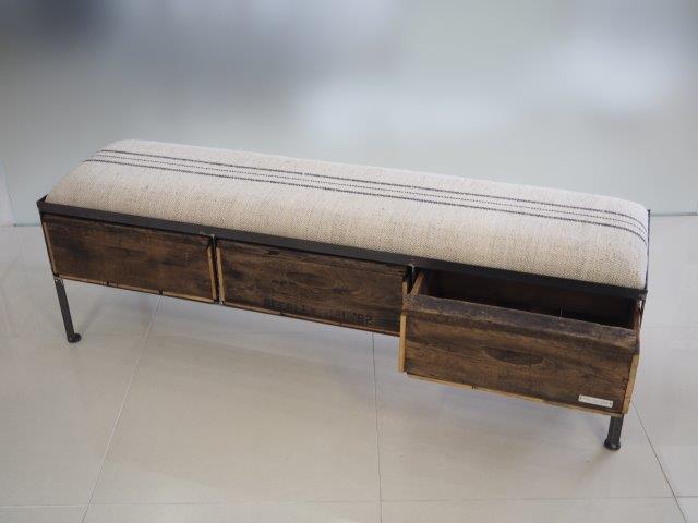 品番UES3-119  3drawer ottoman[nerrow/European grain sacks]