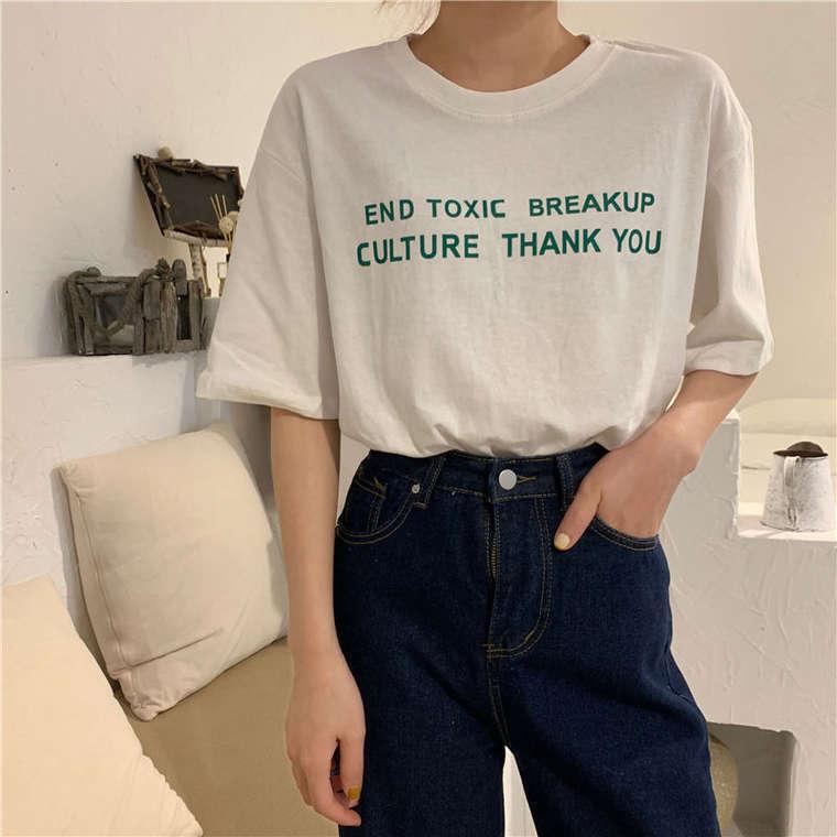 【送料無料】 6color♡ 大人可愛い カジュアル メッセージロゴ プルオーバー クルーネック Tシャツ
