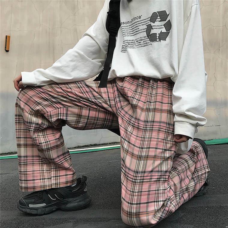 【送料無料】 着映えアイテム♡ チェック柄 ワイドパンツ カジュアル ストレートパンツ メンズライク ゆるだぼ