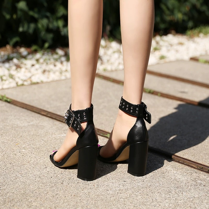 leather belt thin heel sandal