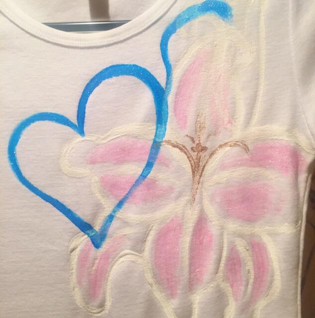 花シリーズ  インフィニティ∞リリー シャツ白地 手描きTシャツ