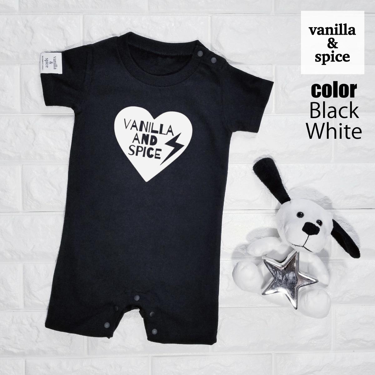 f34ad01172f77 ベビー 半袖 ロンパース ショート Heart Logo ハート ロゴ サンダー 雷 プリント 赤ちゃん 出産祝い ベビー服  vanilla spice バニラ&スパイス