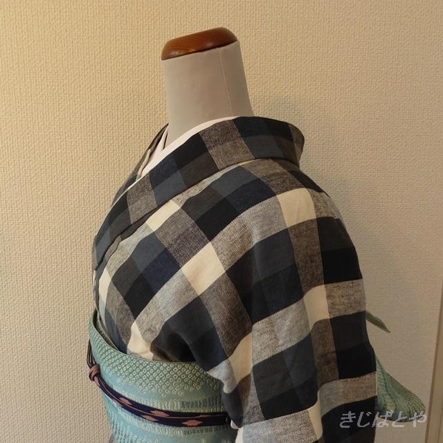綿麻 ブルーのブロックチェックの小紋 単衣