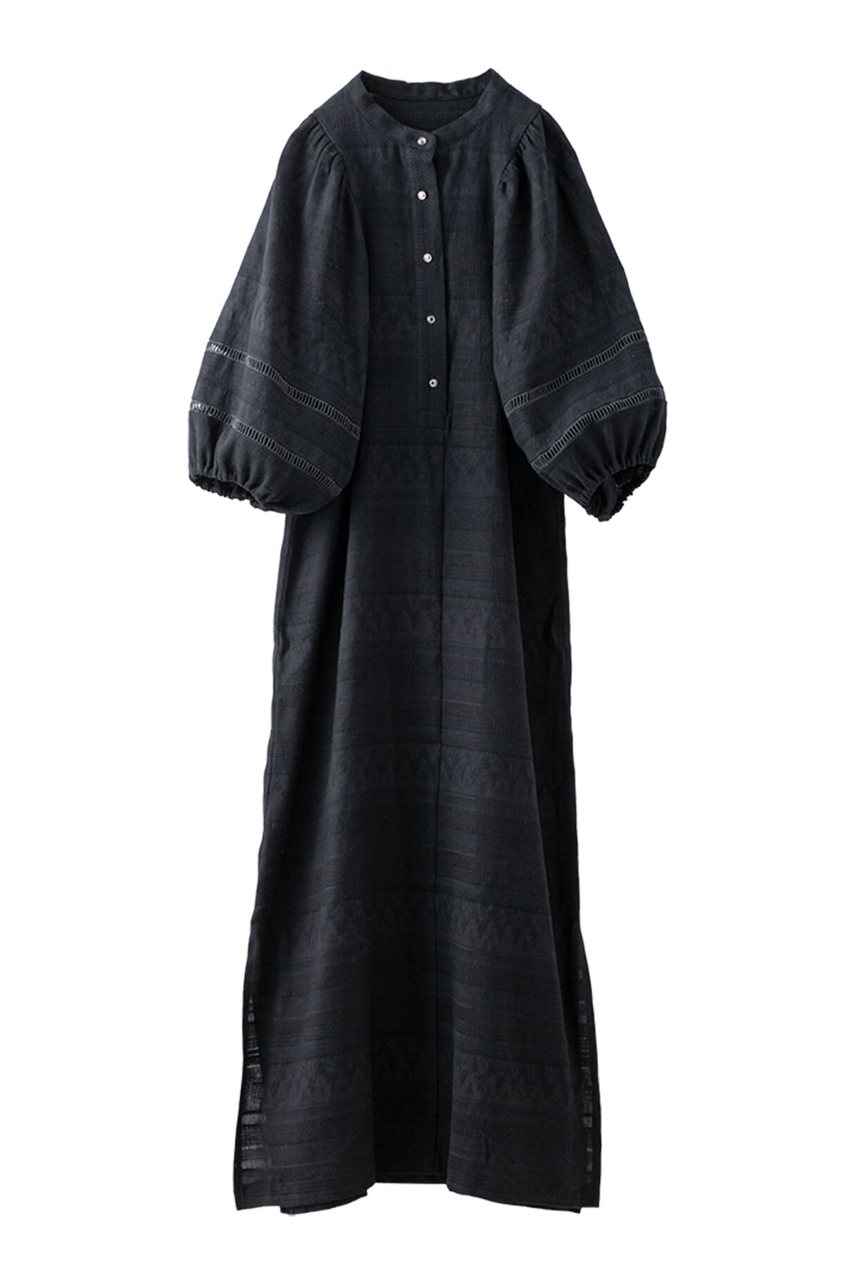 バルーンスリーブエスニックドレス <ブラック>