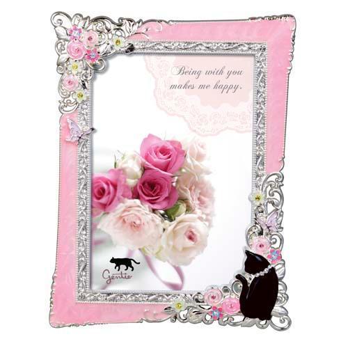 黒猫ローズフレーム ピンク