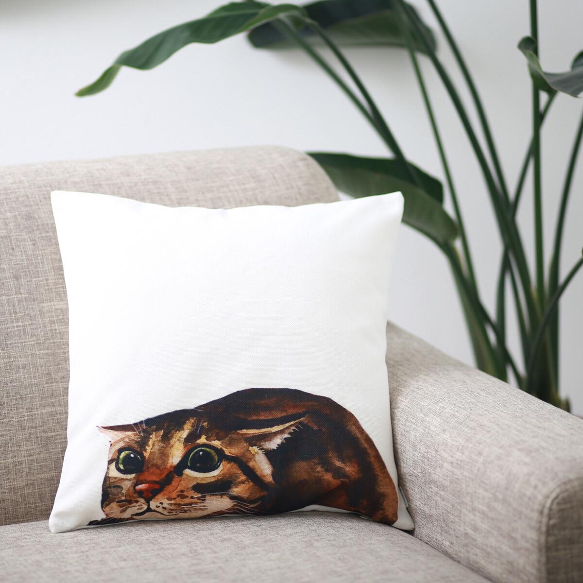 クッションカバー BROWN CAT