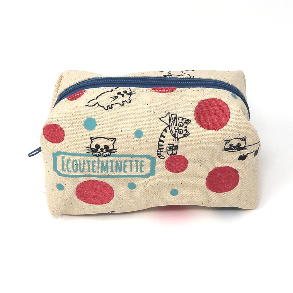 猫ポーチ(エクートミネット刺繍キャラメルポーチ)